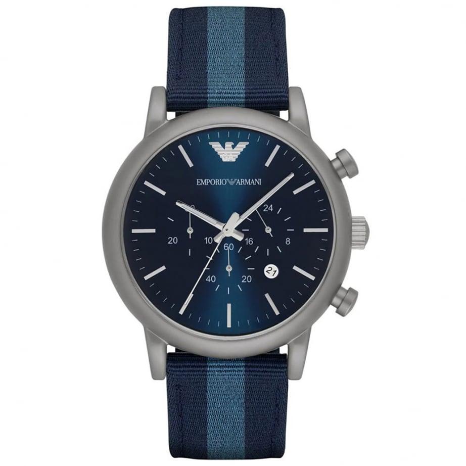 AR1949 Emporio Armani Silver and Blue Nylon Mens Watch ...