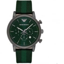Armani Watches AR1950 Silver & Green Nylon Mens Watch