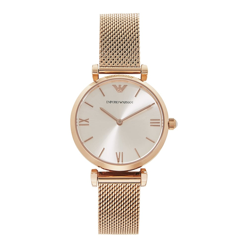 AR1956 Rose Gold Mesh  amp  Silver Dial Ladies Watch ba16bfda4fbd