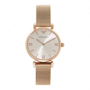 13203142936a AR1956 Rose Gold Mesh   Silver Dial Ladies Watch