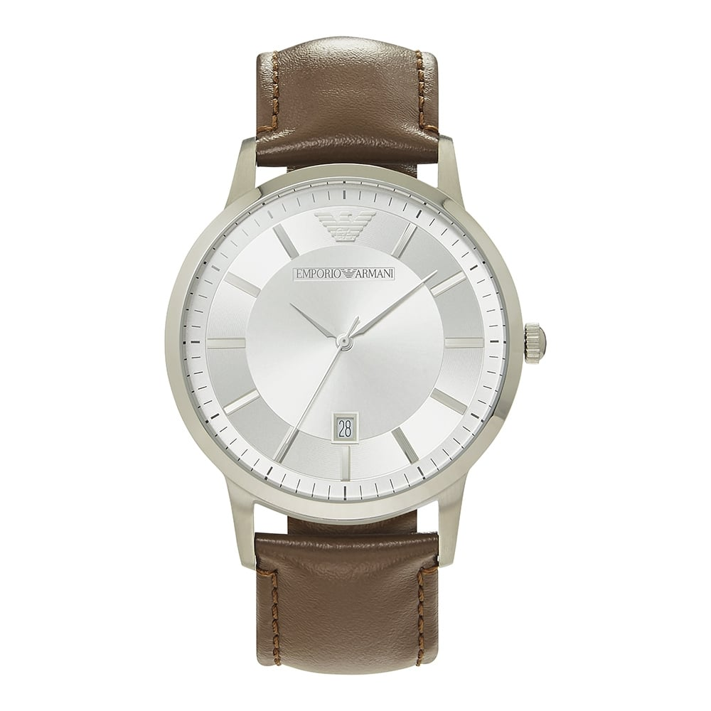 5d6bcd319c1 AR2463 Brown Leather   Silver Dial Men s Watch ... Emporio Armani ...