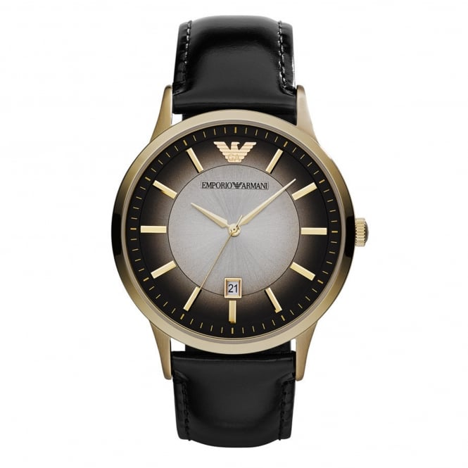 Armani Watches AR2467 Gold & Black Leather Men's Watch