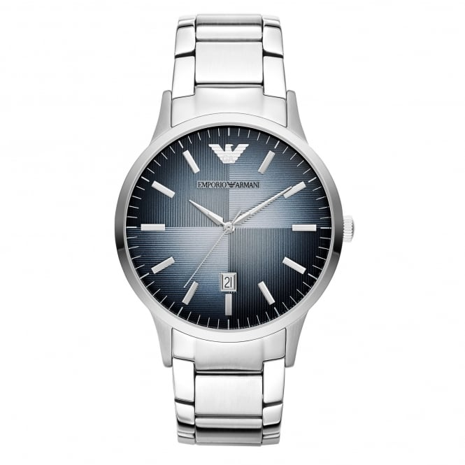 Armani Watches AR2472 Blue & Silver Stainless Steel Men's Watch