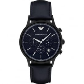 Armani Watches AR2481 Men's Herringbone Patterned Dial Chronograph Blue Leather