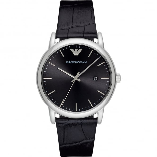 Armani Watches AR2500 Silver & Black Textured Leather Men's Watch