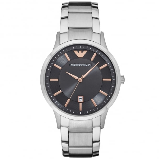 Armani Watches AR2514 Black, Rose Gold & Silver Stainless Steel Men's Watch