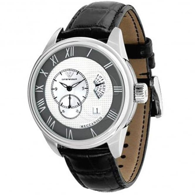Armani Watches AR4608 Meccanico Silver & Black Leather Automatic Men's Watch