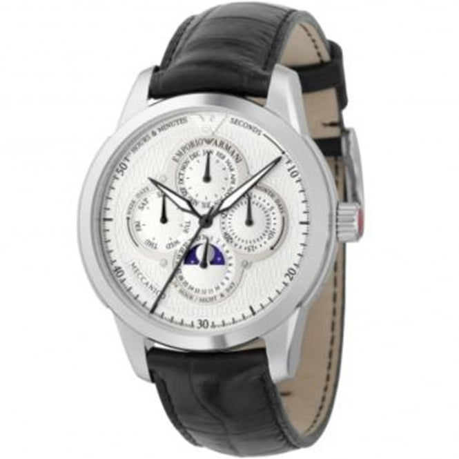 Armani Watches AR4613 Meccanico Silver & Black Leather Multifunctional Automatic Men's Watch