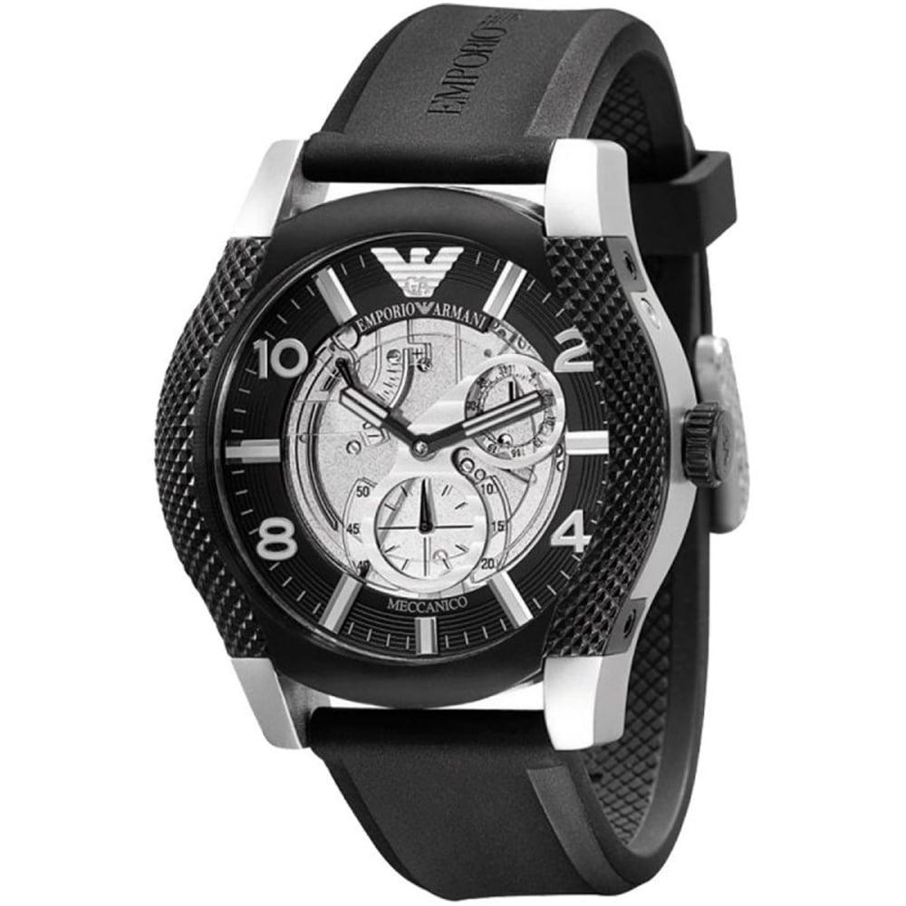9088c72b2 Emporio Armani AR4630 Meccanico Black Rubber Men's Watch available ...