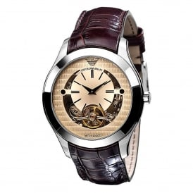 AR4641 Meccanico Silver & Brown Leather Automatic Men's Watch