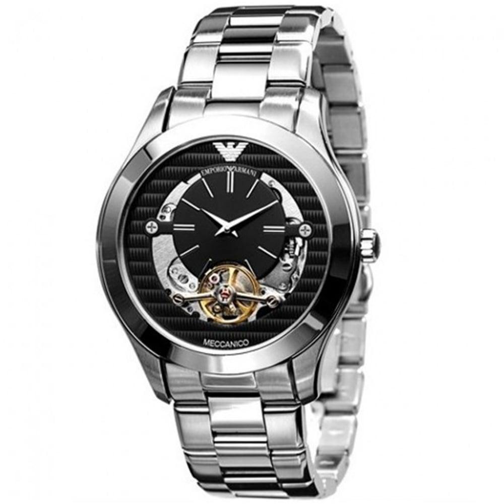 emporio armani ar4642 meccanico stainless steel men s watch armani watches ar4642 meccanico black silver stainless steel automatic men s watch