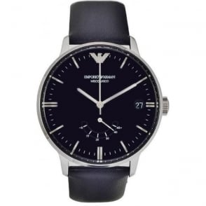 Armani Watches AR4656 Mens Black Leather Meccanico Watch