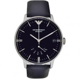 AR4656 Mens Black Leather Meccanico Watch