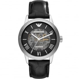 AR4669 Meccanico Silver & Black Leather Automatic Men's Watch