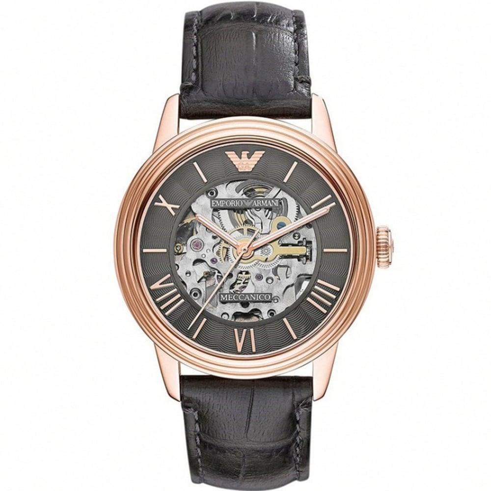 emporio armani meccanico ar4670 rose gold and black leather watch armani watches ar4670 meccanico rose gold black leather automatic men s watch