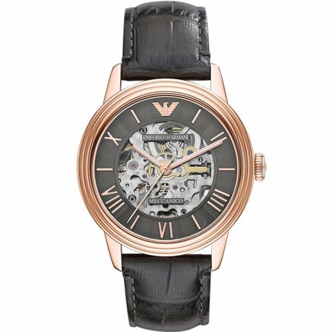 Armani Watches AR4670 Meccanico Rose Gold & Black Leather Automatic Men's Watch