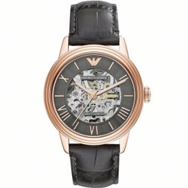 AR4670 Meccanico Rose Gold & Black Leather Automatic Men's Watch