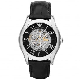 AR4677 Meccanico Silver & Black Leather Automatic Men's Watch