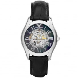 AR4678 Meccanico Silver & Black Leather Automatic Ladies Watch