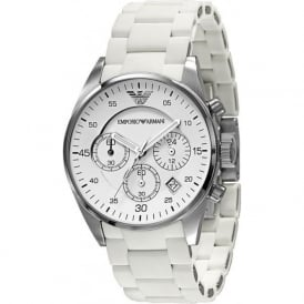 Armani Watches AR5867 White Chronograph Unisex Watch