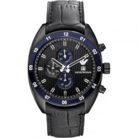 Armani Watches AR5916 Blue & Black Leather Chronograph Mens Watch