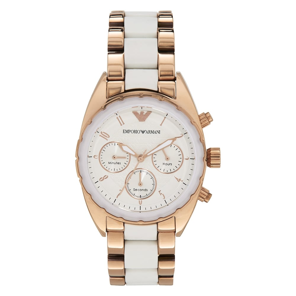 AR5942 White  amp  Rose Gold Stainless Steel Chronograph Ladies Watch 2baa2c9c2