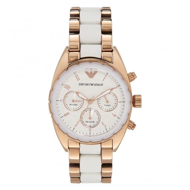 Armani Watches AR5942 White Ceramic & Rose Gold Stainless Steel Chronograph Ladies Watch