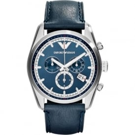 Armani Watches AR6041 Blue Leather Chronograph Mens Watch