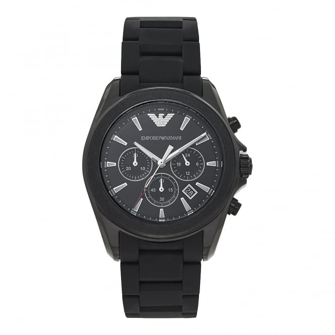 Armani Watches AR6092 Black Stainless Steel/Silicon Chronograph Men's Watch