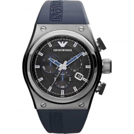 Armani Watches AR6104 Blue Silicon & Stainless Steel Case Chronograph Men's Watch