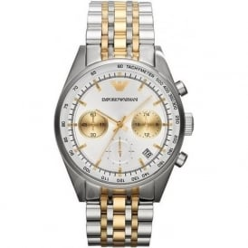 Armani Watches AR6116 Gold & Silver Chronograph Mens Watch