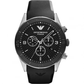 Armani Watches AR9500 Black Rubber Chronograph Mens Watch