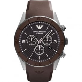 Armani Watches AR9501 Black & Brown Rubber Chronograph Mens Watch