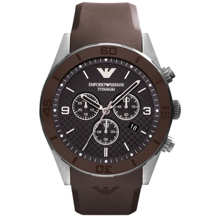 Ar9501 emporio armani mens black and brown rubber chronograph watch on sale at tic watches for Rubber watches