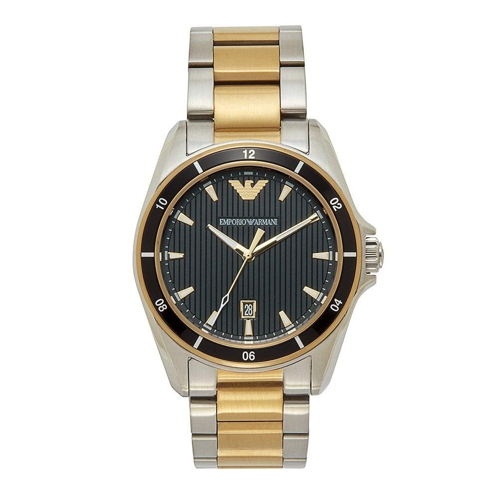 Steckdose online suche nach neuestem Stufen von Armani Watches Emporio Armani AR80017 Mens Black Silver & Gold Stainless  Steel Watch