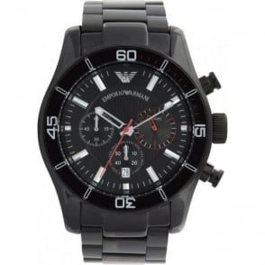 Armani Watches Emporio Armani Mens Black Stainless Steel Chronograph Watch AR5931