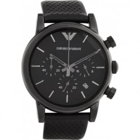 Armani Watches High Gloss Black Leather Mens Chronograph Watch AR1737