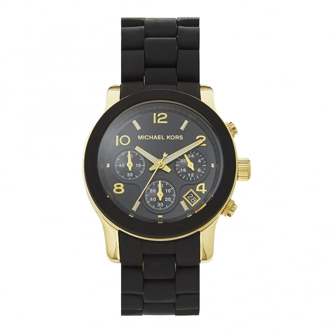 Michael Kors Watches MK5191 Runway Gold & Black Rubber Chronograph Ladies Watch