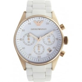 Armani Watches White and Rose Gold Womens Chronograph Watch AR5920