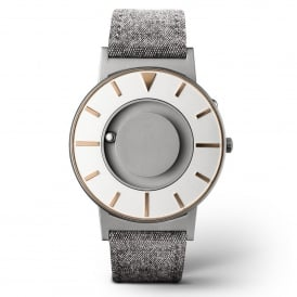 Bradley Compass Gold & Grey Leather Watch