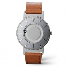 Bradley Voyager Silver & Brown Leather Watch