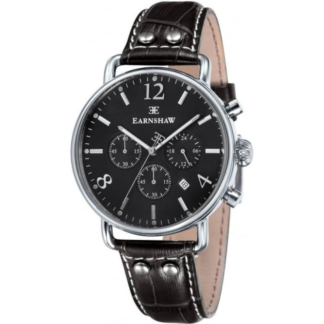 Thomas Earnshaw ES-8001-08 Investigator Silver & Black Brown Leather Mens Chronograph Watch