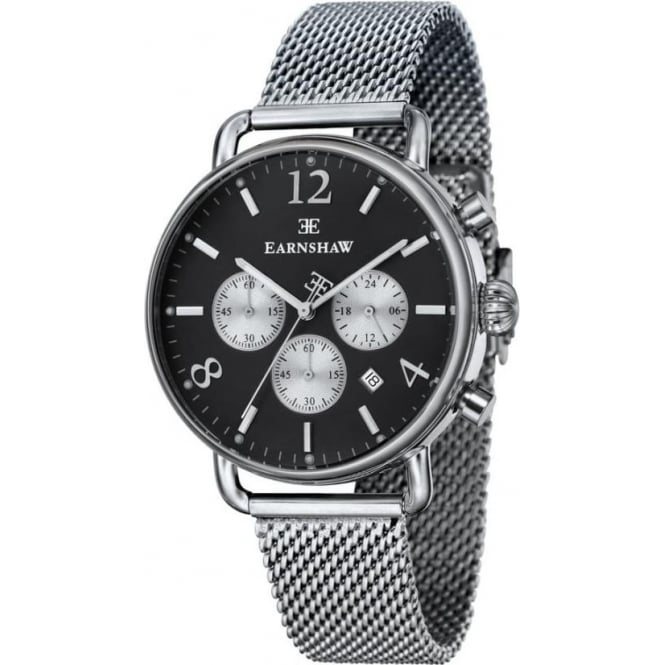 Thomas Earnshaw ES-8001-44 Investigator Silver Mesh & Silver Black Mens Chronograph Watch