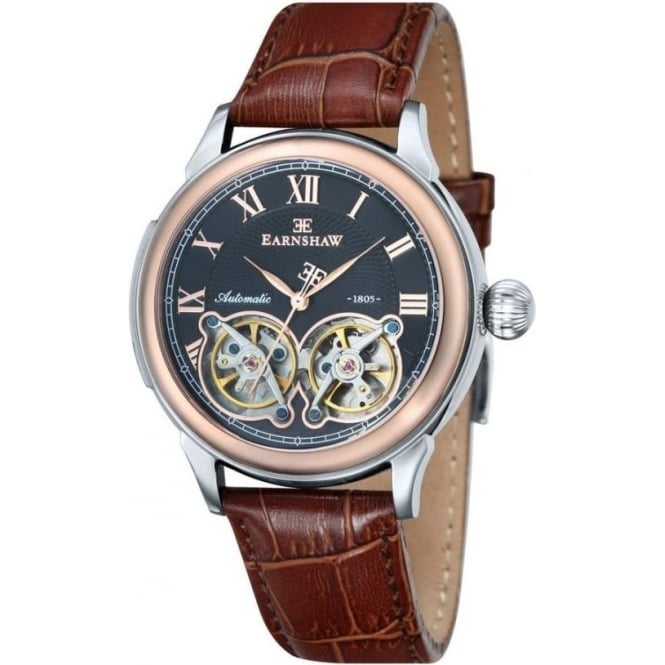 Thomas Earnshaw ES-8030-04 Observatory Two Toned & Brown Leather Mens Skeleton Automatic Watch