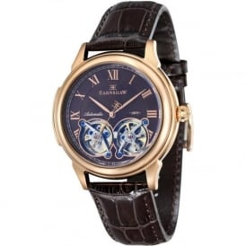 Thomas Earnshaw ES-8030-05 Observatory Gold, Purple & Brown Leather Mens Skeleton Automatic Watch