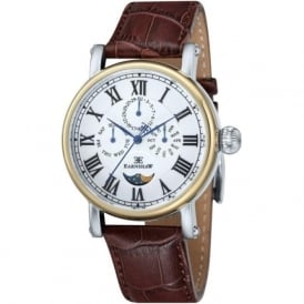 ES-8031-02 Maskelyne Two Tone & Brown Leather Mens Multi-Function Watch