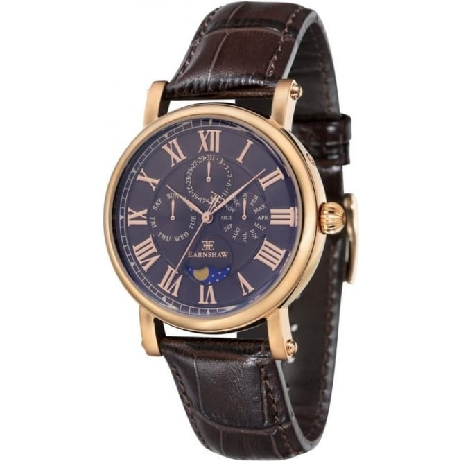Thomas Earnshaw ES-8031-04 Maskelyne Gold & Brown Leather Mens Multi-Function Watch