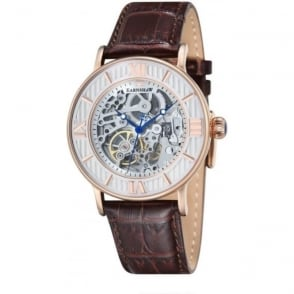 Thomas Earnshaw ES-8038-03 Darwin Rose Gold & Brown Leather Mens Automatic Skeleton Watch