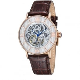 ES-8038-03 Darwin Rose Gold & Brown Leather Mens Automatic Skeleton Watch