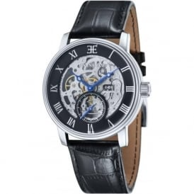 Thomas Earnshaw ES-8041-01 Westminster Classic Silver & Black Leather Automatic Skeleton Watch
